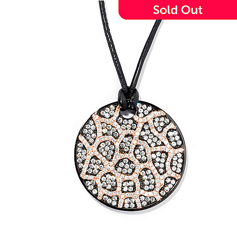 133-671 - Sonia Bitton Two-tone 3.61 DEW Simulated Diamond Web Overlay Disc Pendant w/ Cord