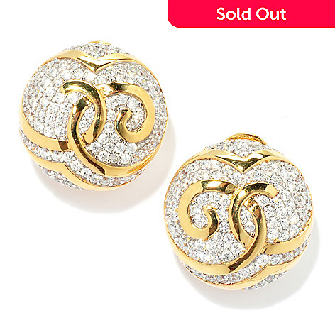 133-672 - Sonia Bitton Two-tone 2.98 DEW Simulated Diamond Round Disk Swirl Earrings