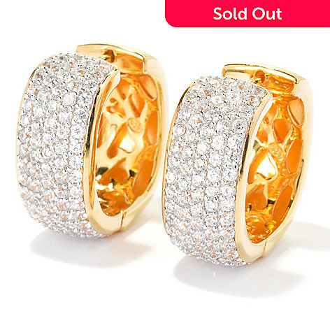 133-673 - Sonia Bitton 2.52 DEW Pave Set Simulated Diamond Square Shaped Hoop Earrings