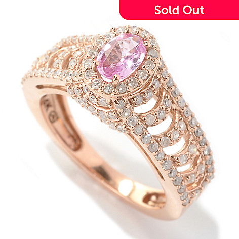 133-675 - Beverly Hills Elegance® 14K Rose Gold 1.30ctw Pink Sapphire & Diamond Halo Ring