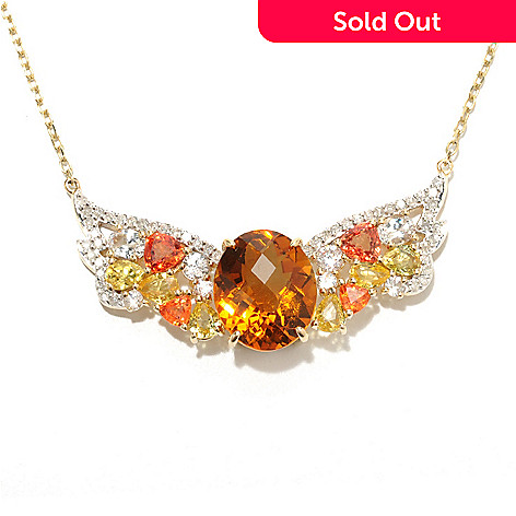 133-676 - Beverly Hills Elegance 14K Gold 18'' 6.56ctw Multi Gemstone Wing Necklace