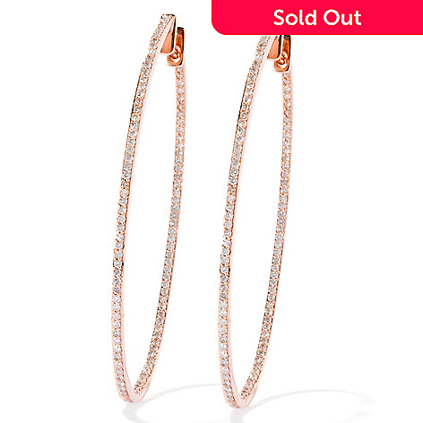 133-677 - Beverly Hills Elegance® 14K Rose Gold 2'' 1.00ctw Diamond Oval Hoop Earrings