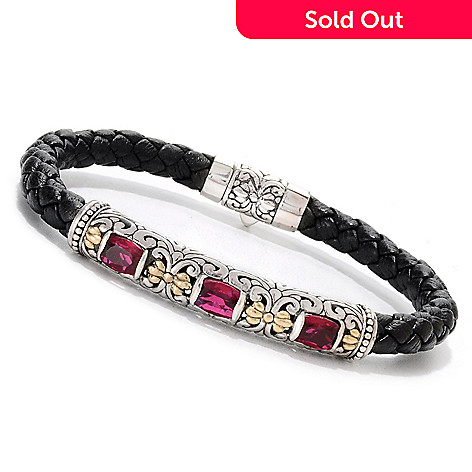 133-691 - Artisan Silver by Samuel B. Two-tone 2.46ctw Quartz Doublet Leather Bracelet