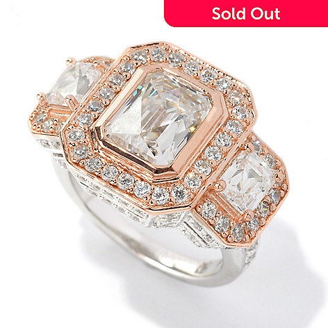 133-700 - TYCOON Two-tone 5.00 DEW Elongated Royal TYCOON CUT Simulated Diamond Three-Stone Ring