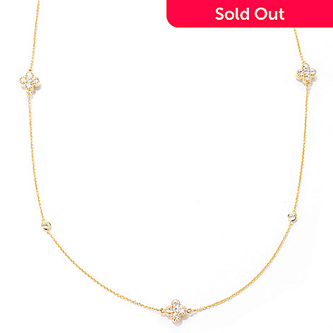 133-704 - Sonia Bitton 36'' 8.58 DEW Simulated Diamond Reversible Four-Leaf Clover Station Necklace