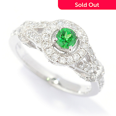 133-714 - Gem Treasures® Sterling Silver Tsavorite & White Zircon ''Kellie Anne'' Halo Ring