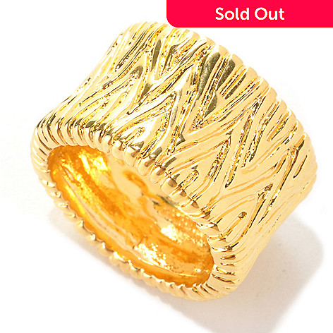 133-719 - Dettaglio™ 18K Gold Embraced™ Polished & Textured Cigar Band Ring