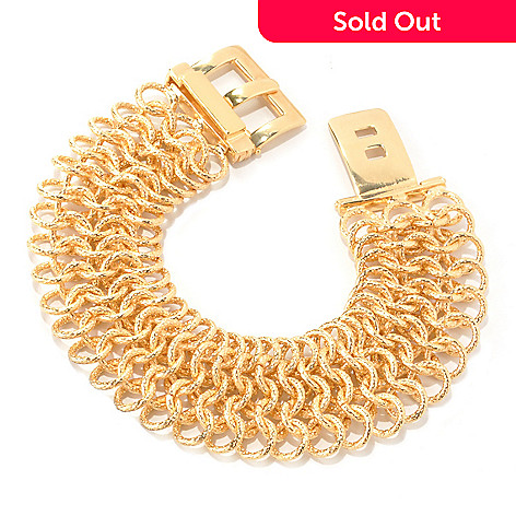 133-720 - Dettaglio™ Gold Embraced™ 8'' Wide Woven Buckle Clasp Bracelet