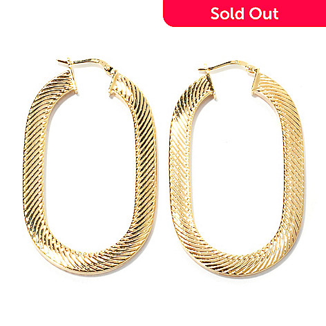 133-722 - Dettaglio™ 18K Gold Embraced™ 2'' Diagonal Stripe Textured Oval Hoop Earrings