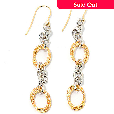 133-725 - Dettaglio™ Gold Embraced™ 3'' Two-tone Double Oval Station Drop Earrings