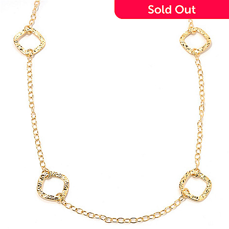 133-727 - Dettaglio™ Gold Embraced™ 36'' High Polished Textured Disk Station Necklace