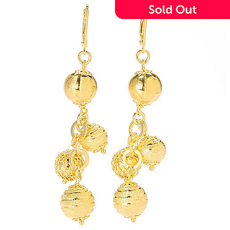 133-728 - Dettaglio™ Gold Embraced™ 3'' High Polished Textured Charm Dangle Earrings