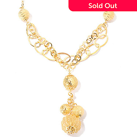 133-730 - Dettaglio™ 18K Gold Embraced™ 18'' Textured Charm Y-Drop Necklace