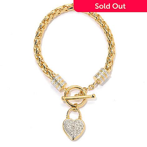 133-731 - Dettaglio™ 18K Gold Embraced™ 0.10ctw Diamond Heart Charm Toggle Bracelet