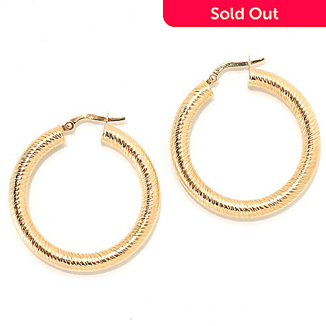 133-743 - Viale18K® Italian Gold 1.25'' Textured & High Polished Hoop Earrings