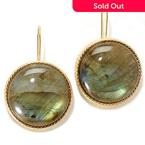 133-744 - Viale18K® Italian Gold 1.25'' 20mm Labradorite Textured Circle Drop Earrings
