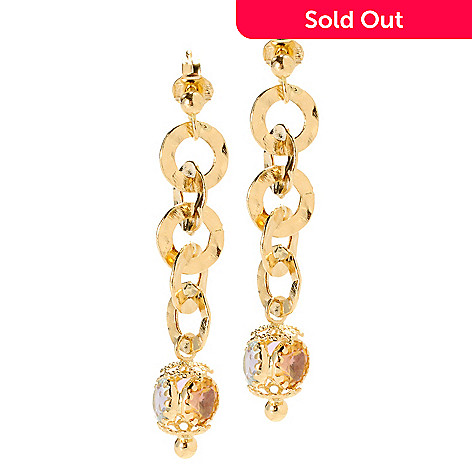 133-746 - Viale18K® Italian Gold 1.75'' 4.26ctw Multi Gem Hammered Link Drop Earrings
