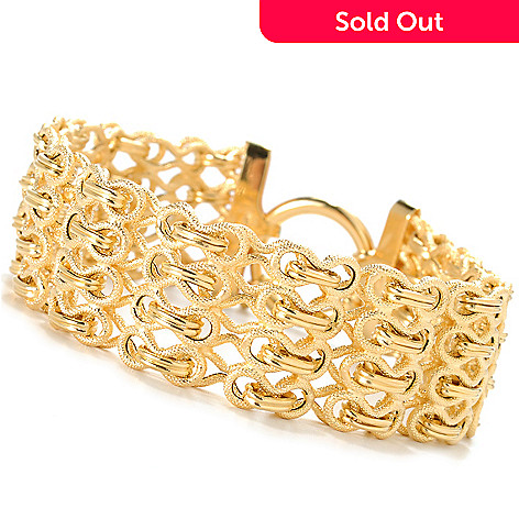 133-754 - Viale18K® Italian Gold 7.5'' Textured Fancy Link Bracelet
