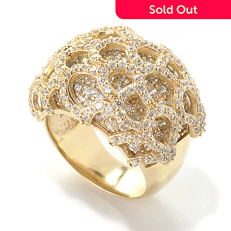 133-760 - Sonia Bitton Brilliant Cut Simulated Diamond Scalloped Overlay Dome Ring