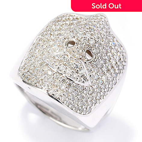 133-761 - Sonia Bitton 2.12 DEW Pave Set Simulated Diamond Face Ring