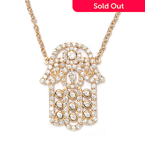 133-763 - Sonia Bitton 18'' 1.59 DEW Marquise & Round Simulated Diamond Hamsa Necklace