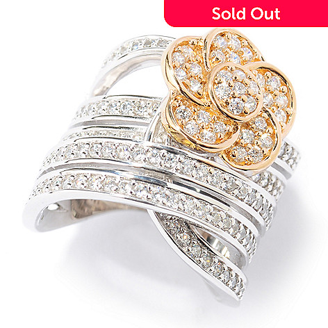 133-767 - Sonia Bitton Two-tone 2.05 DEW Simulated Diamond Pave Set Five-Row Flower Ring