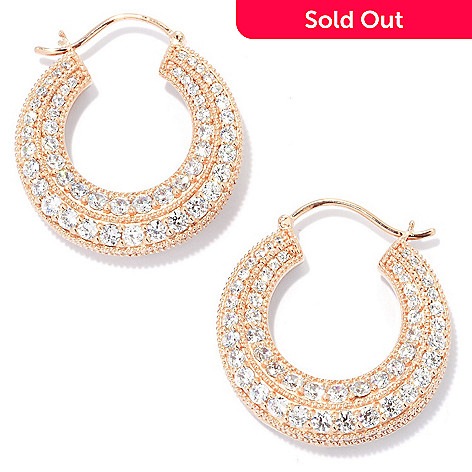 133-768 - Sonia Bitton 1'' 3.80 DEW Pave Set Simulated Diamond Milgrain Hoop Earrings