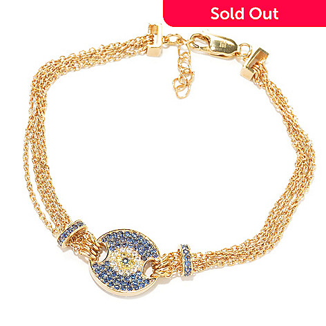133-772 - Sonia Bitton Simulated Diamond Evil Eye Multi Strand Line Bracelet