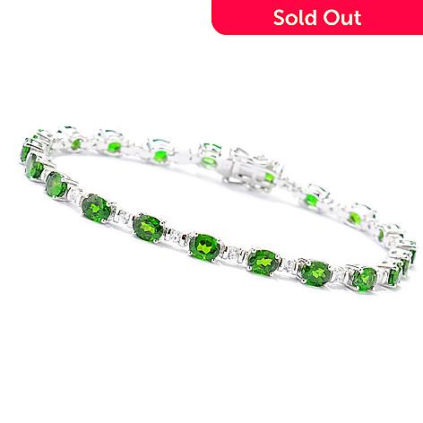 133-773 - Gem Treasures® Sterling Silver 8.80ctw Chrome Diopside & White Zircon Bracelet