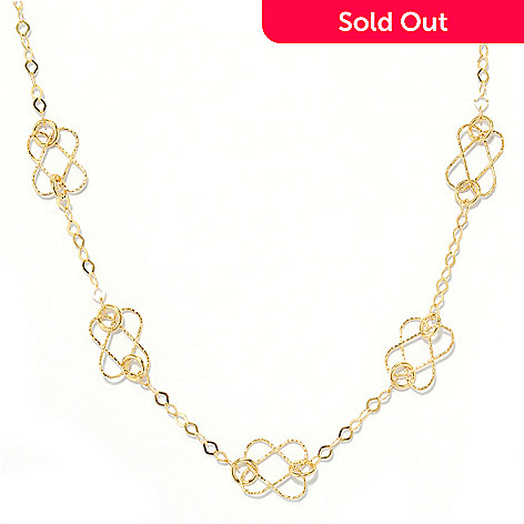 133-811 - Italian Designs with Stefano 14K Gold 18'' Textured Link Station Necklace