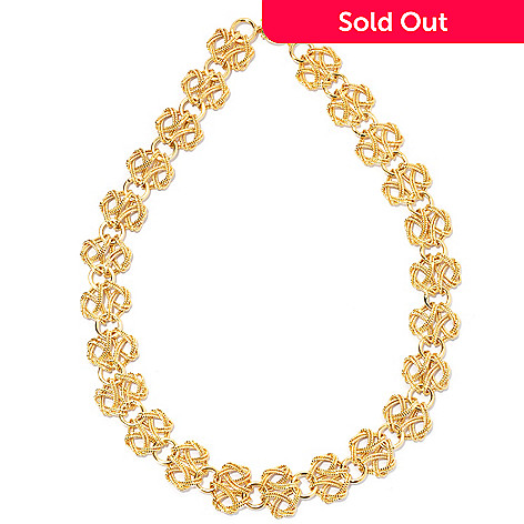 133-818 - Italian Designs with Stefano 14K Gold 18'' Textured Fancy Link Necklace, 17.10 grams