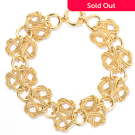 133-819 - Italian Designs with Stefano 14K Gold 7.25'' Textured Fancy Link Bracelet