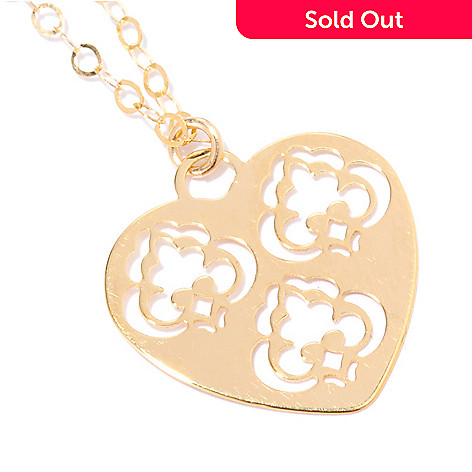 133-822 - Italian Designs with Stefano 14K Gold 18'' Renaissance Heart Necklace