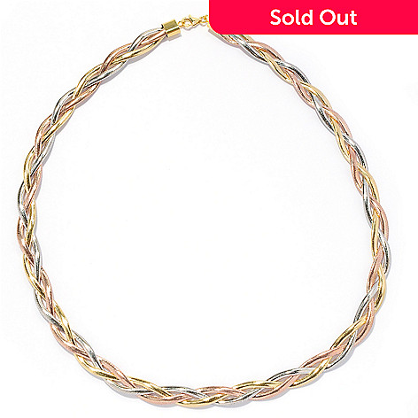 133-823 - Stefano Oro 14K Tri-tone Gold 18'' Braided Omega Necklace, 8.50 grams