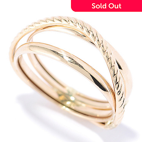 133-825 - Stefano Oro 14K Gold Polished & Textured Multi Band Ring