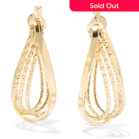 133-829 - Stefano Oro 14K Gold 1.25'' Diamond Cut Hoop Earrings