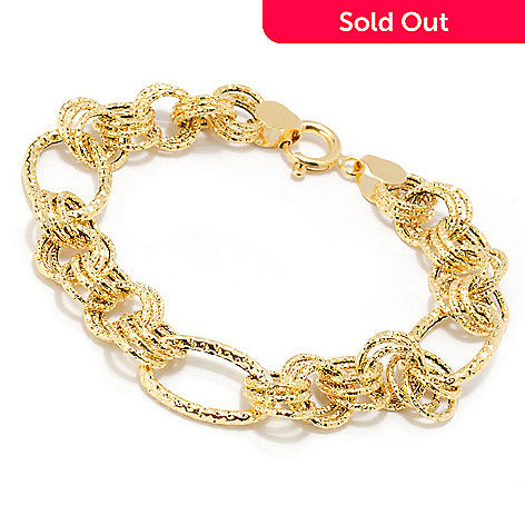 133-834 - Italian Designs with Stefano 14K Gold 8'' Textured Circle & Oval Link Bracelet