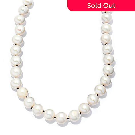 133-844 - Sterling Silver 28'' 10-11mm White Freshwater Cultured Pearl & Spinel Necklace