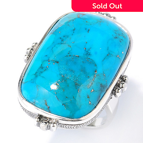 133-845 - Gem Insider™ Sterling Silver 28 x 18mm Turquoise Elongated Ring