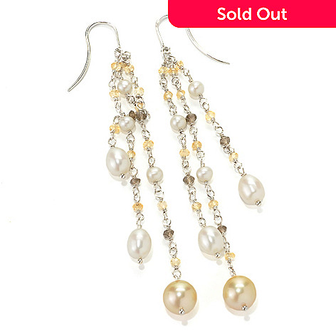 133-853 - Sterling Silver 2.5'' 8-9mm South Sea & Freshwater Cultured Pearl Dangle Earrings