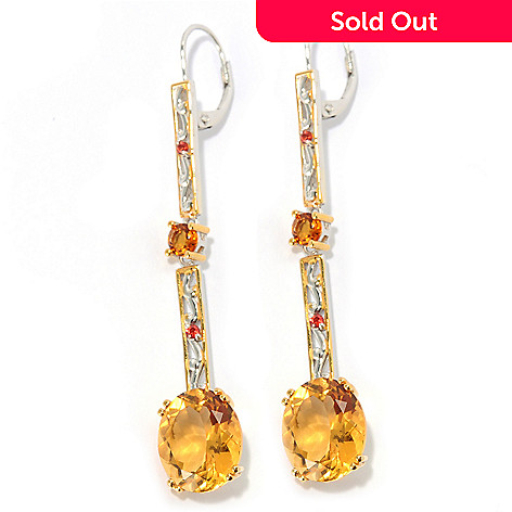 133-860 - Gems en Vogue II 2.25'' 9.56ctw Zambian Citrine & Orange Sapphire Elongated Earrings
