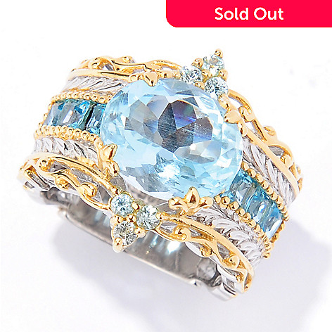 133-864 - Gems en Vogue 5.33ctw Aquamarine, Blue Zircon & Swiss Blue Topaz Ring