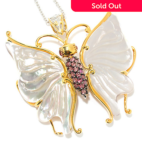 133-868 - Gems en Vogue 47 x 21mm Carved Mother-of-Pearl & Pink Tourmaline Butterfly Pendant w/ Chain