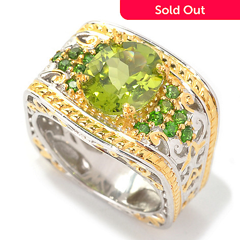 133-869 - Gems en Vogue 2.96ctw Peridot & Chrome Diopside Ring