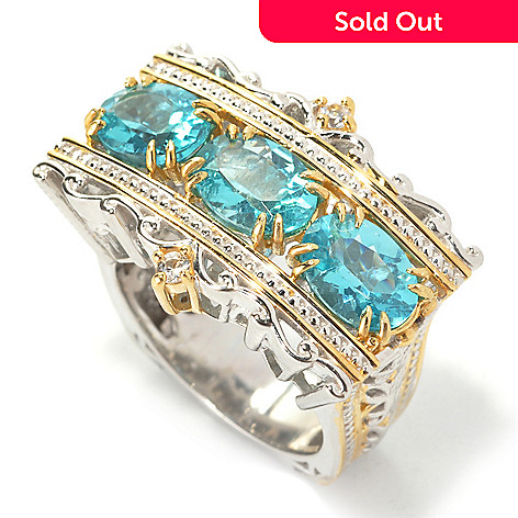 133-870 - Gems en Vogue 3.88ctw Oval Blue Apatite & White Sapphire Band Ring