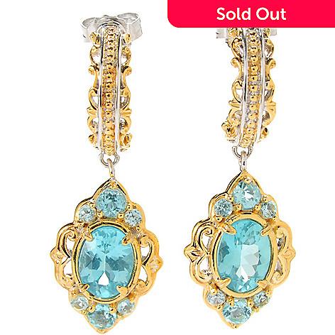 133-871 - Gems en Vogue 1.25'' 3.16ctw Oval Blue Apatite Drop Earrings