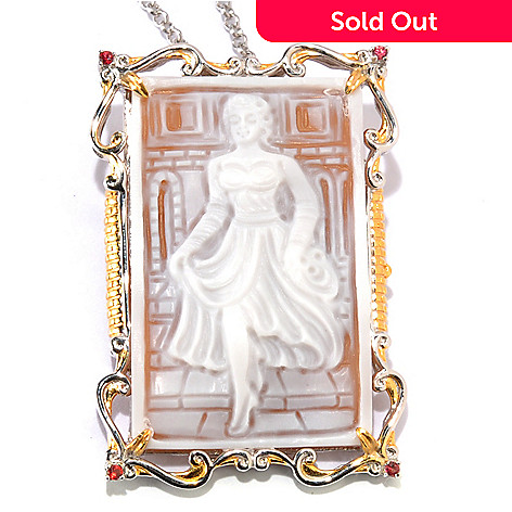 133-893 - Gems en Vogue Hand-Carved Shell ''Cinderella'' Cameo & Orange Sapphire Enhancer Pendant w/ Chain