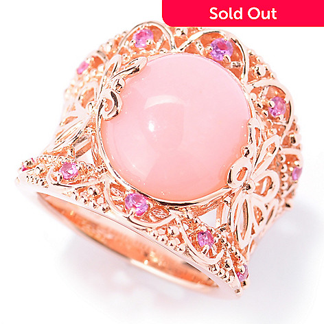 133-896 - NYC II 14 x 12mm Pink Opal & Pink Sapphire Wide Band Ring