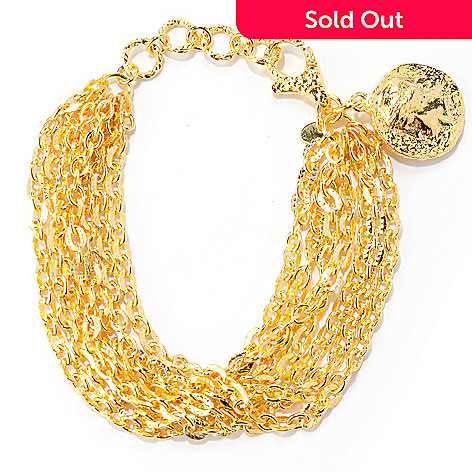 133-909 - Toscana Italiana Gold Embraced™ 7.5'' Seven-Strand Bracelet w/ Coin Charm