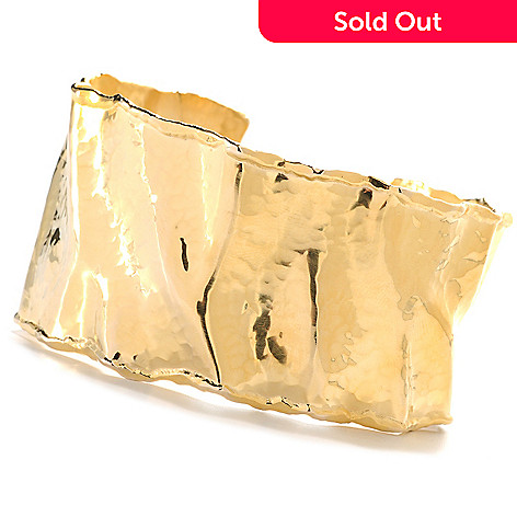 133-922 - Toscana Italiana 18K Gold Embraced™ 7.5'' Polished & Hammered Cuff Bracelet